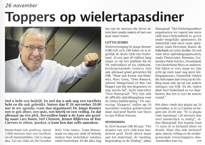 Tapasdiner in Weekblad Oosterhout